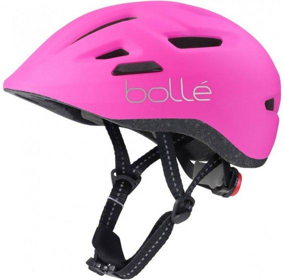 Fahrradhelm Kinderhelm matt pink + sehr leicht mit LED Leuchte